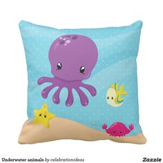 Sold #Underwater #animals throw #pillow #kids #cute Available in different products. Check more at www.zazzle.com/celebrationideas