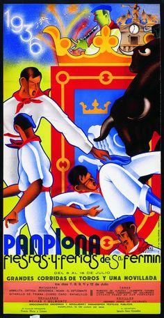 Cartel de los Sanfermines de 1936 - Fiestas y ferias de San Fermín, Pamplona :: Autor: Gregorio Urzainqui #Pamplona