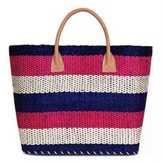 Navy, cerise & white structured straw shopper with leather handles. Straw Handbags, Leather Handle, Costume Jewelry, Straw Bag, Latest Fashion, Fashion Accessories, Navy, Stuff To Buy, Closure