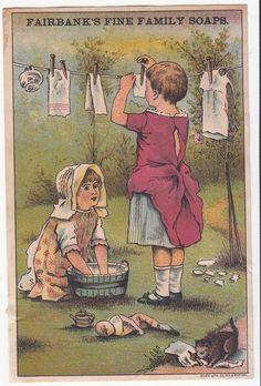 Fairbank's Family Soaps Clothesline Washing Kitten Doll Victorian Card c1880s #NKFairbanks