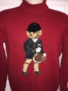 Vintage Ralph Lauren Polo Sport Sweater Small S Equestrian Jockey Bear Horseback #RalphLauren #MockTurtleneck
