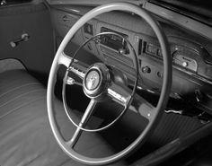 AWA radio in Plymouth car. Max Dupain photo, c 1951.