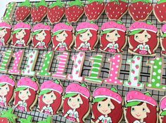 Strawberry Shortcake decorated cookies, Party favors by peapodscookies