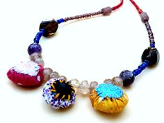 Red Blue Beaded Necklace/ Fiber Jewelry/ Multicolor by BudBeVud