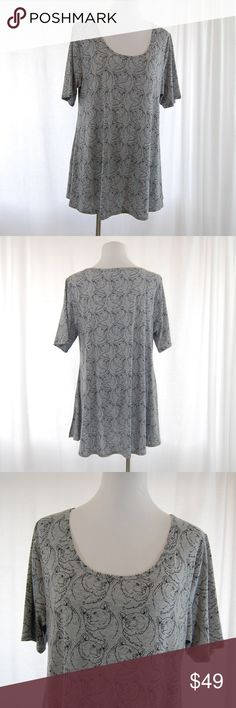 "Lularoe BEAR ""Perfect T"" (gray) Adorable and hard to find!  Gray with black bear faces all over it. Short sleeve Perfect T fit Slits at sides. Tunic Style Very stretchy!  Excellent condition with little to no wear.  Had to reposh b/c it doesn't fit me (which breaks my heart because I LOVE this soooo much).  Approximate measurements (taken flat): Bust = 22.5"" Length = 30""  SIZE XL - but please see last pic for size chart!  <GS42> LuLaRoe Tops Tunics"