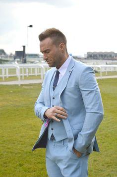 Calum Best wears light blue suit by @burtonmenswear for his #SmartOccasion…