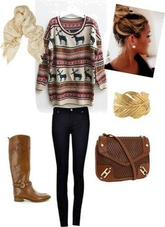 A casual fall winter day with big oversized sweater and jeans          Tumblr outfits for teens girls  fashion on polyvore