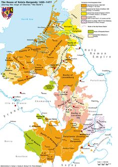 The late-Medieval geography of France. The multitudes of duchies and kingdoms can be directly traced to specific Germanic tribes which invaded Roman Gaul almost years prior. European History, World History, French History, Karl Der Kühne, Die Habsburger, France Map, Utrecht, Old Maps, Be Bold