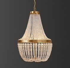RH Baby & Child's Dauphine Crystal Empire Chandelier - Antiqued Gold:With its shapely grandeur, our aged-metal chandelier is adept at transforming an ordinary room into a fairytale setting. Two tiers of crystal bead strands lend undeniable elegance.