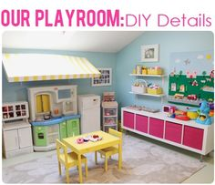 "Super cute play room from The Busy Budgeting Mama -- paint color: Martha Stewart ""Sunken Pool"", IKEA EXPEDIT shelf turned on it's side for toy storage with bins."