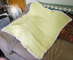Pale Yellow Waffle Stitch Baby Blanket by HomespunByDesign on Etsy, $20.00