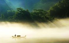 The fisherman on the misty lake in the countryside of Hunan Province, China. Iphone 5 Wallpaper, Mobile Wallpaper, Desktop Wallpapers, Black Magic Love Spells, Beautiful Wallpapers For Iphone, Misty Day, Foggy Forest, Forest Wallpaper, Hd 1080p