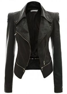 The Black Faux Leather Power Shoulder Biker Motorcycle Jacket features power shoulder, front zip closure. Slays it with literally everything in your closet.