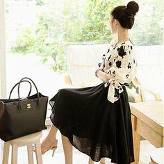 Women's Flower Splicing Midi Dress - AUD $ 35.38