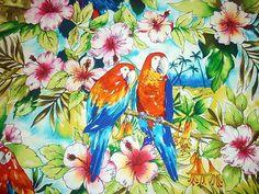 BRIGHT PARROTS BIRDS
