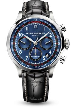 Discover the Capeland 10065 automatic chronograph watch for men, with blue dial and black alligator leather strap, designed by Baume et Mercier, Swiss Watch Maker.