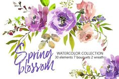 Spring Blossom Watercolor Flowers  by whiteheartdesign on @creativemarket