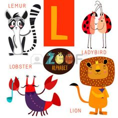 cute jungle animals: Cute zoo alphabet in L letter.  Illustration