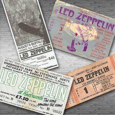 LED ZEPPELIN Retro Concert Tickets Fridge Magnet Set