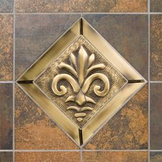 Solid Brass Wall Tile with Fleur De Lis Design - With Tile Frame - Burnished Brass Decorative Tile, Decorative Boxes, Dogwood Flowers, Mosaic Designs, Wall Tiles, Flower Designs, Home Kitchens, Decorative Accessories, Solid Brass