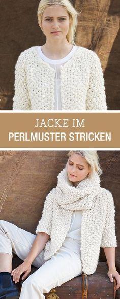 #Strickanleitung für eine gestrickte Jacke mit Perlmuster, oversized Jacke stricken / free #knitting pattern for an oversized cardigan Lana Grossa Anleitung via DaWanda.com
