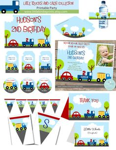 LITTLE CARS and TRUCKS Birthday Premium Printable Party Pack