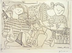 https://flic.kr/p/8nZg4T | Picasso at The Metropolitan Museum of Art. Françoise, Claude, Paloma Reading and Playing I 1953 (printed 1961), Etching