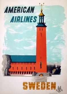Sweden * American Airlines #travel #poster (1960s)