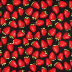 black Alexander Henry fruit strawberry fabric