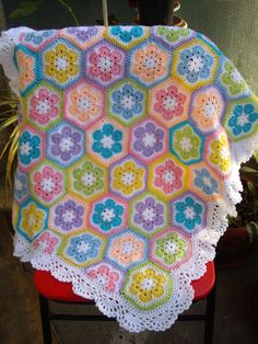 Granny Square Crochet Blanket...Baby Crochet Blanket...Colorful Knitting Patchwork Afghan...