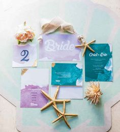 Dreamy watercolor invites: | If Ariel And Prince Eric Got Married IRL, This Is What It Would Look Like