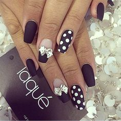 Polka Dot and Bow Nail Design