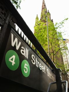 Wall Street Subway Station in New York City, right by Trinity Church.
