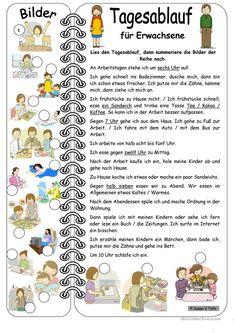 Tagesablauf für Erwachsene mit Bildern * mit Lösung Arbeitsblatt - Kostenlose DAF Arbeitsblätter