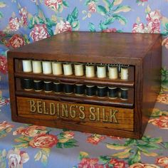 Beldings Silk mercantile store display thread spool cabinet. Antique with 2 spools of 100% Beldings Silk buttonhole thread...ebay