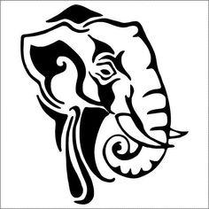 Clipart of elephant logo design. Tribal Elephant, Elephant Logo, Elephant Stencil, Elephant Head, Animal Stencil, Stencil Art, Theme Tattoo, Scroll Saw Patterns Free, Free Pattern