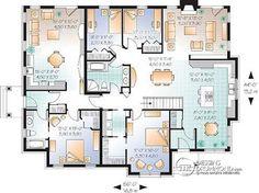Plan de Rez-de-chaussée Maison bi-génération , grand espace, 3 chambres côté famille - Angéline