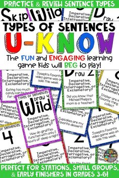 Students love playing U-Know games for fun REVIEW of the four types of sentences or for test prep. It's a perfect activity for any small group or station, and great for early finishers. Types of Sentences U-Know is a fun learning game played similar to UNO except if you get an answer wrong, you have to draw two! Students will beg to practice sentence types in this way! Covers declarative, imperative, exclamatory, and interrogative sentence types! Available in MANY other topics, too!
