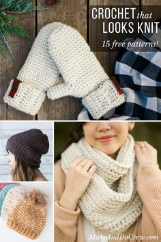 Each of these free crochet patterns use simple crochet stitches to create the look of knitting. You'll love this collection of easy projects and tutorials.