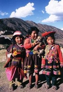 Children in Inca clothing.