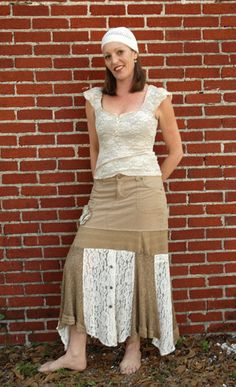 Size 9/10  FunKy recycled Corduroy skirt with Lace by deecouture, $65.00
