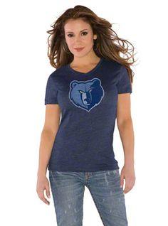 Memphis Grizzlies Navy Women's V Neck T-Shirt