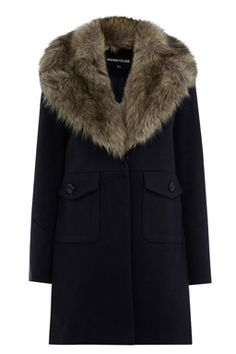 This tailored coat features a removable faux fur collar, two front pockets popper fastening. Length of coat from shoulder seam to hem