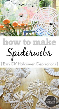 These coffee filter spiderwebs are one of our favorite DIY Halloween crafts as well as one of the easiest. Plus they look wonderful grouped on a window. Fete Halloween, Halloween Crafts For Kids, Diy Halloween Decorations, Holidays Halloween, Fall Crafts, Diy Crafts For Kids, Holiday Crafts, Holiday Fun, Scary Decorations