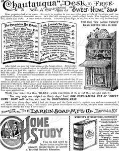 1894 Vintage Victorian Larkin Soap Black & White Ads by susieqs