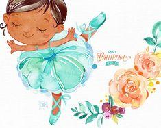 Mint Ballerina 2. Watercolor clipart little girl ballet