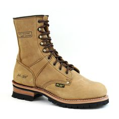 ADTEC > Men's Brown Crazy Horse Leather Logger Boots