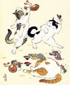 Japanese Bobtail Cats playing and catching 秋色波连波的相册-西村欣魚 日本画