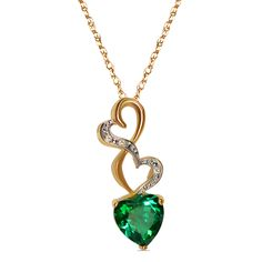 .015cttw with Simulated Emerald Heart Pendant in 10k Yellow Gold with Complimentary 18 Chain - Jewelry Deals 80% OFF + $25 OFF extra discount on purchases $500 & UP ! Enter PINPROMOT coupon at CHECKOUT to get $25 OFF when you place your order @ NissoniJwelry.com