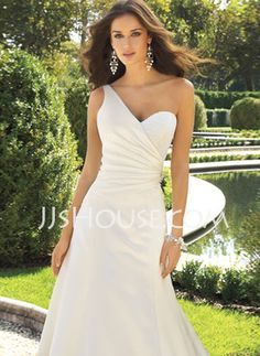 A-Line/Princess One-Shoulder Chapel Train Satin Wedding Dresses With Ruffle Beadwork (002001181) - JJsHouse.com